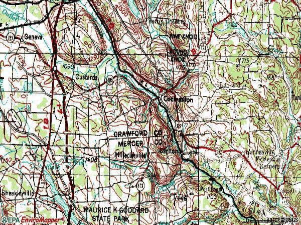 Zip code 16314 topographic map