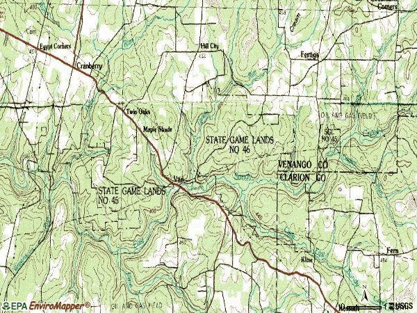 Zip code 16319 topographic map
