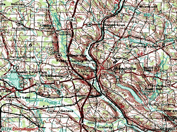 Zip code 16335 topographic map