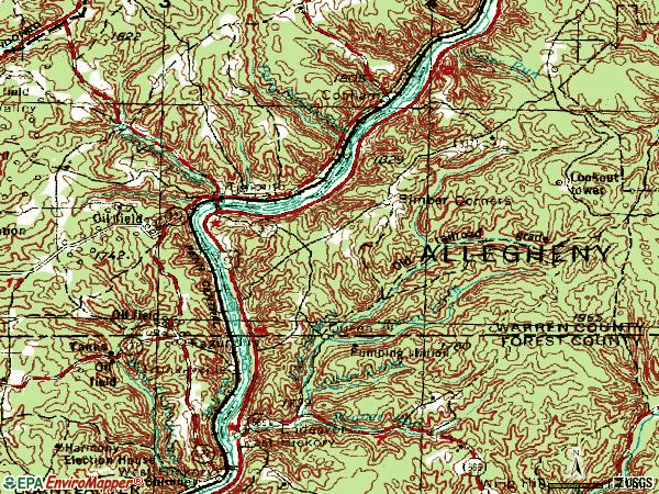 Zip code 16351 topographic map