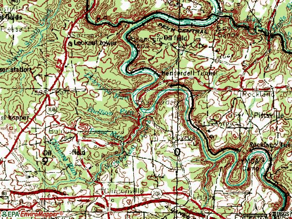 Zip code 16374 topographic map