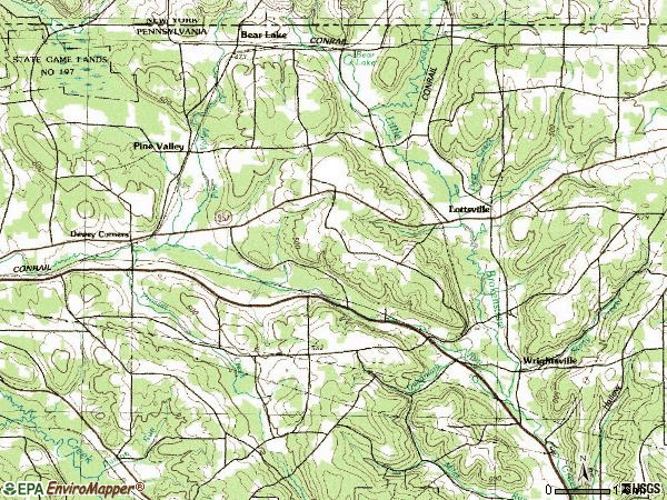 Zip code 16401 topographic map