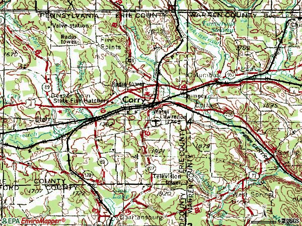 Zip code 16407 topographic map
