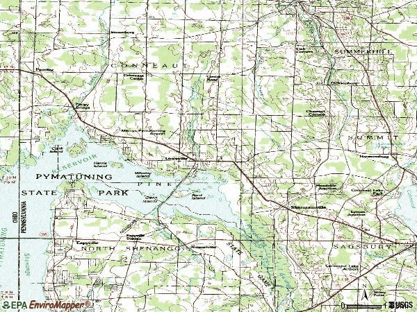 Zip code 16424 topographic map