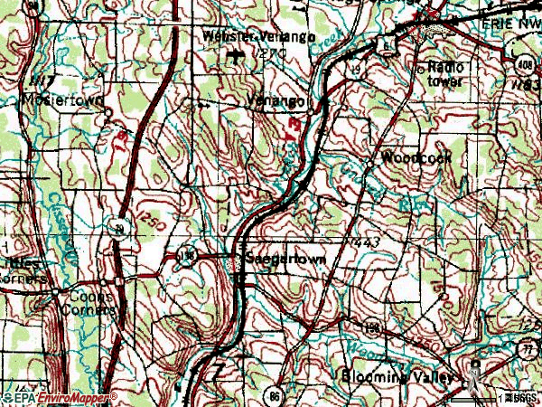 Zip code 16433 topographic map