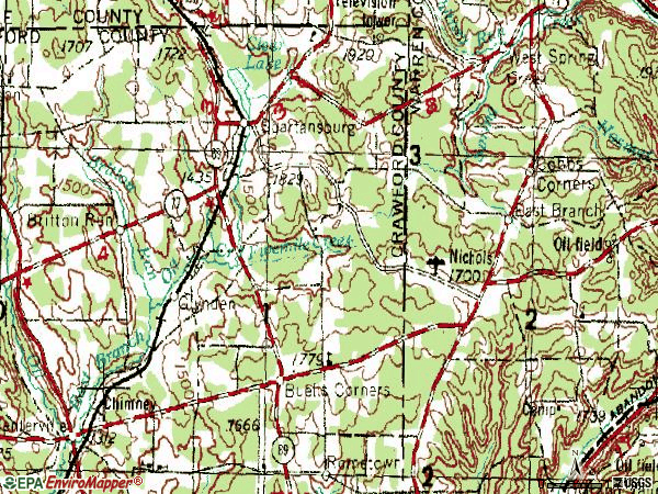 Zip code 16434 topographic map