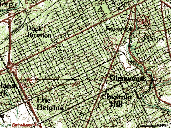 Zip code 16508 topographic map