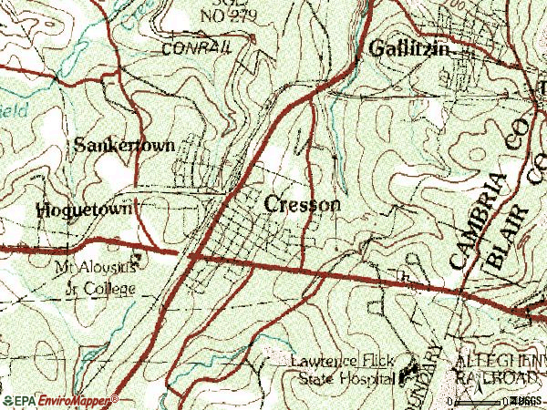 Zip code 16630 topographic map
