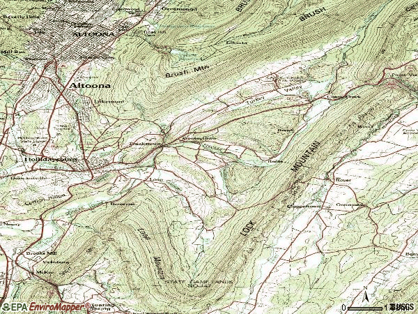 Zip code 16648 topographic map