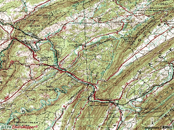 Zip code 16652 topographic map