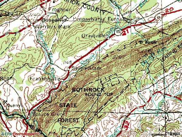 Zip code 16683 topographic map