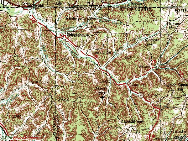 Zip code 16748 topographic map