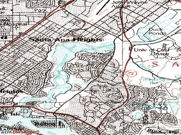 Zip code 92660 topographic map