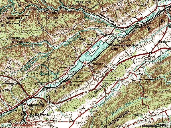 Zip code 16841 topographic map