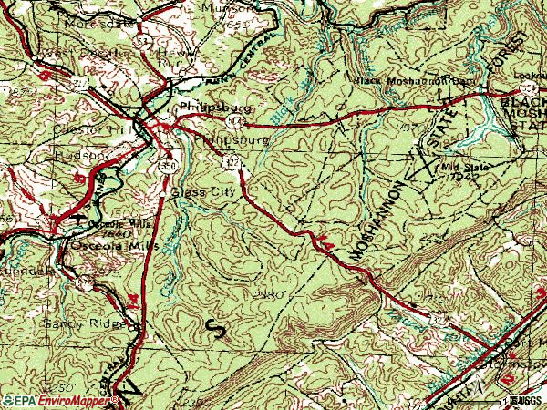 Zip code 16866 topographic map