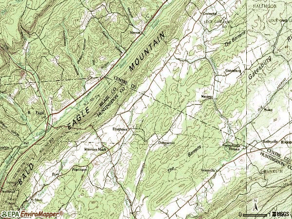 Zip code 16877 topographic map