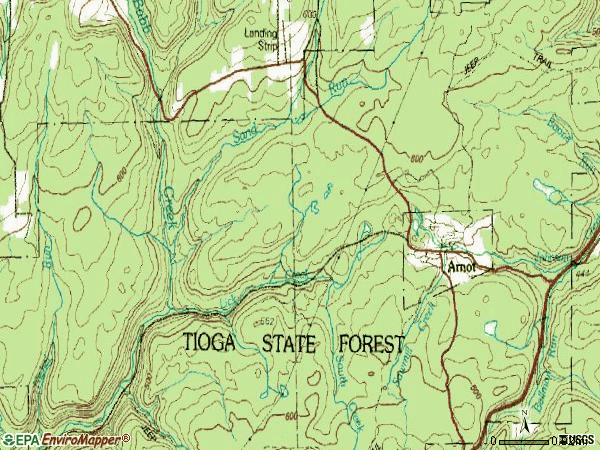 Zip code 16911 topographic map