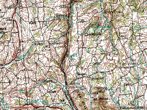 Zip code 16914 topographic map