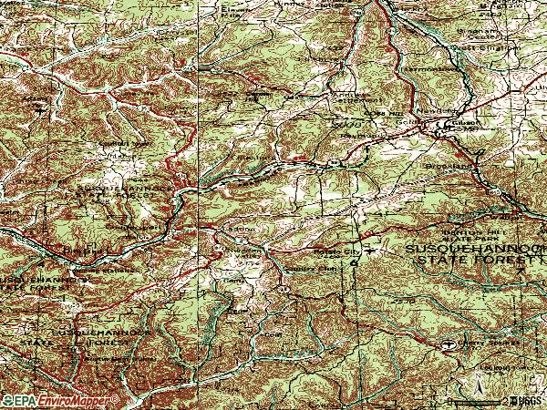 Zip code 16915 topographic map