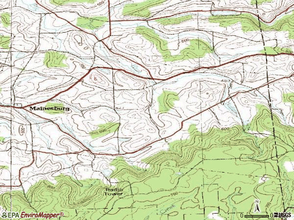 Zip code 16932 topographic map