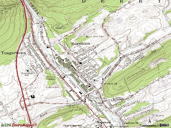 Zip code 17009 topographic map