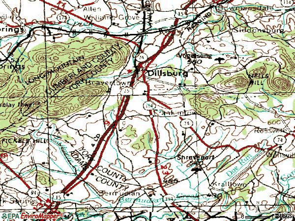 Zip code 17019 topographic map