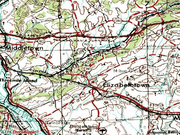 Zip code 17022 topographic map