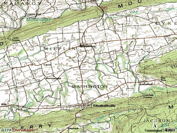 Zip code 17023 topographic map
