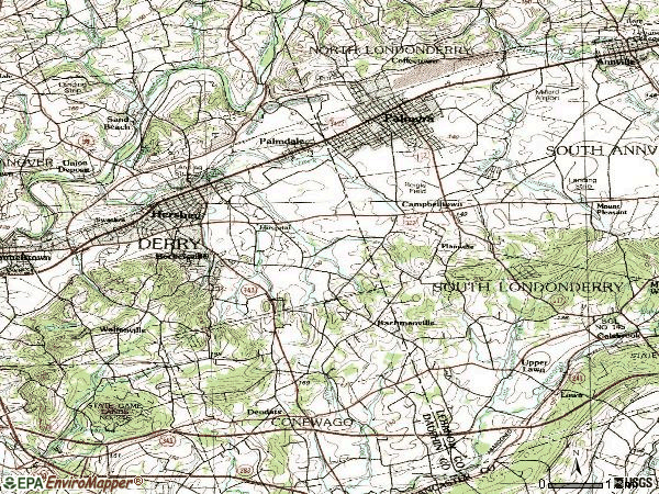 Zip code 17033 topographic map