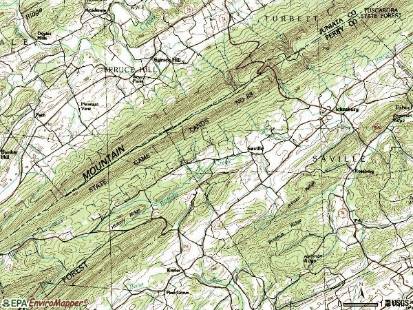 Zip code 17037 topographic map