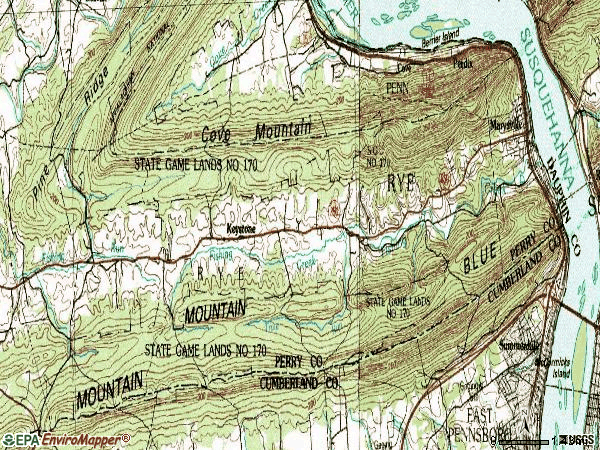 Zip code 17053 topographic map