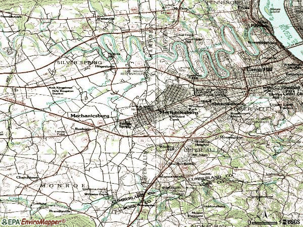 Zip code 17055 topographic map