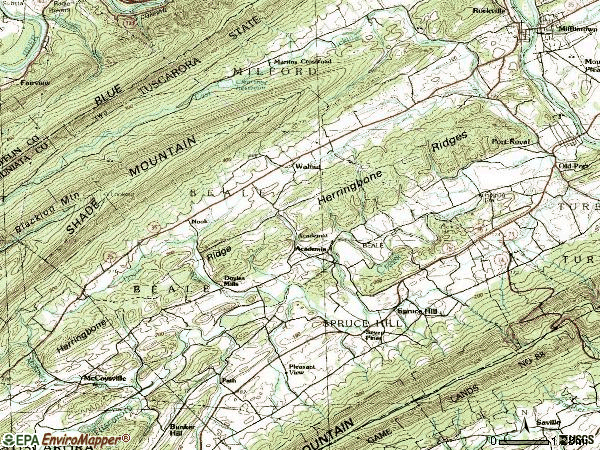 Zip code 17058 topographic map
