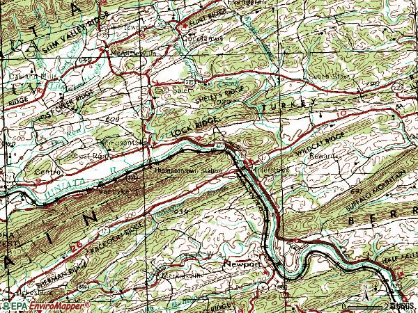 Zip code 17062 topographic map