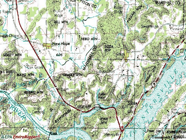 Zip code 35747 topographic map