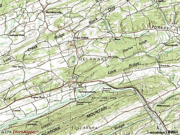 Zip code 17094 topographic map