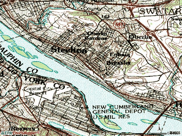 Zip code 17113 topographic map
