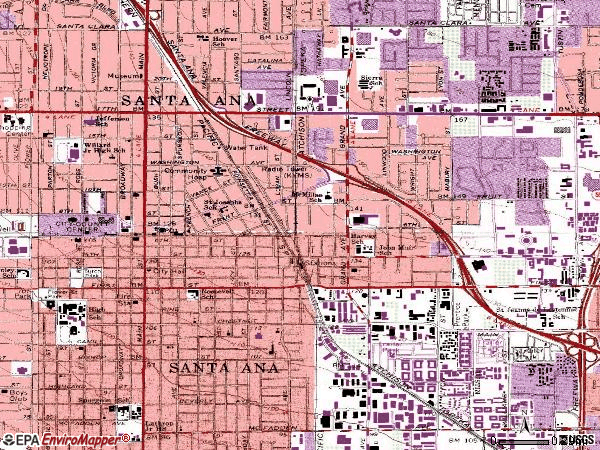 Zip code 92701 topographic map