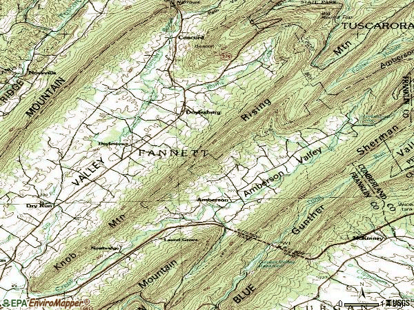 Zip code 17220 topographic map