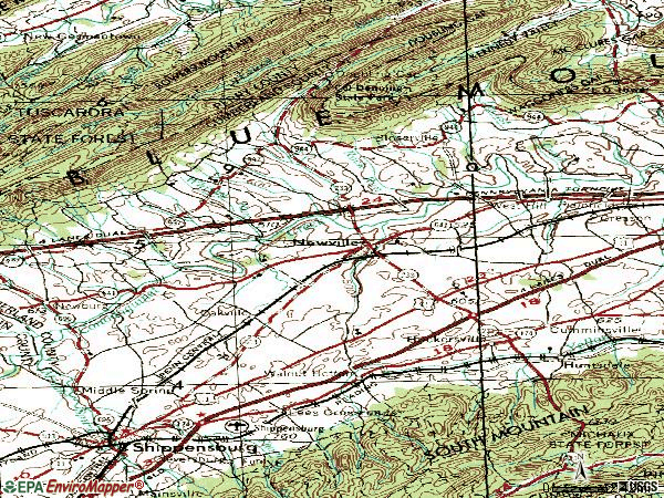 Zip code 17241 topographic map