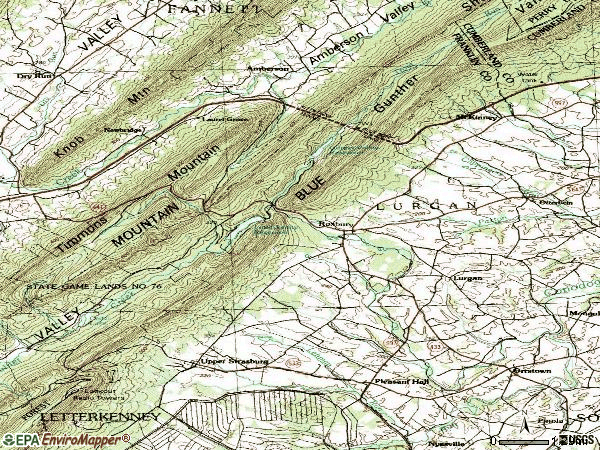 Zip code 17244 topographic map