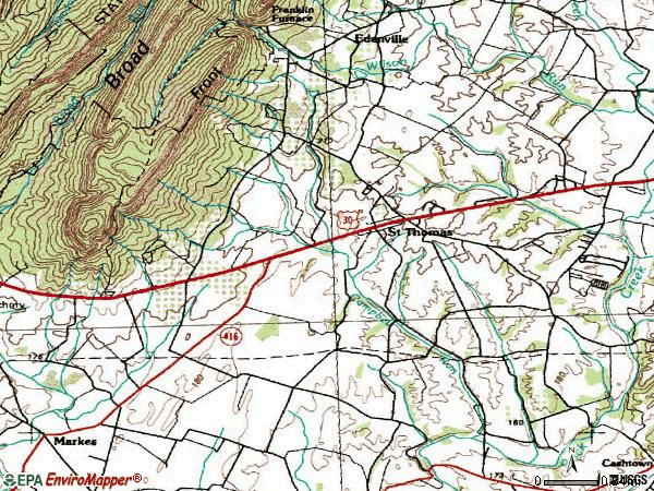 Zip code 17252 topographic map