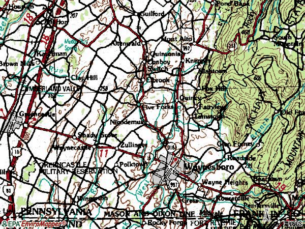 Zip code 17268 topographic map