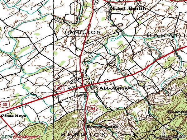 Zip code 17301 topographic map