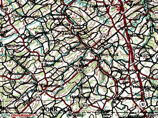 Zip code 17327 topographic map