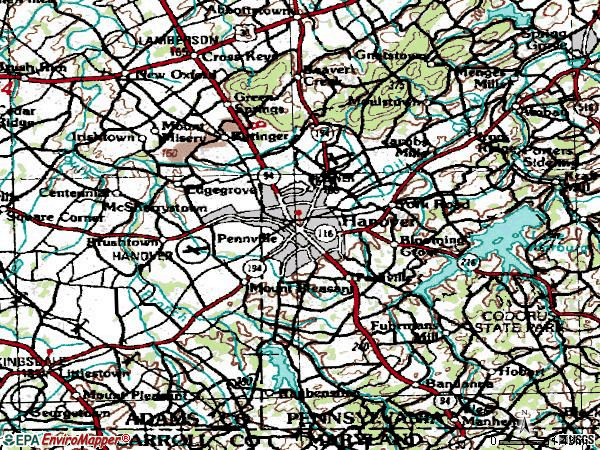 Zip code 17331 topographic map