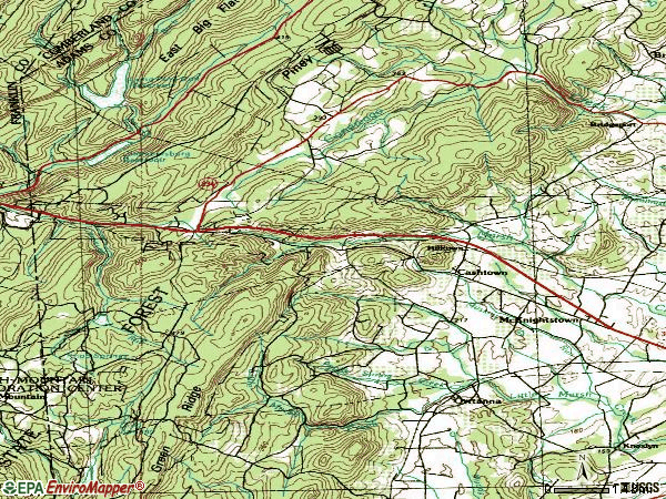 Zip code 17353 topographic map