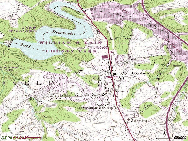 Zip code 17407 topographic map