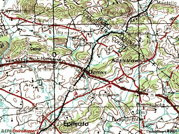 Zip code 17517 topographic map