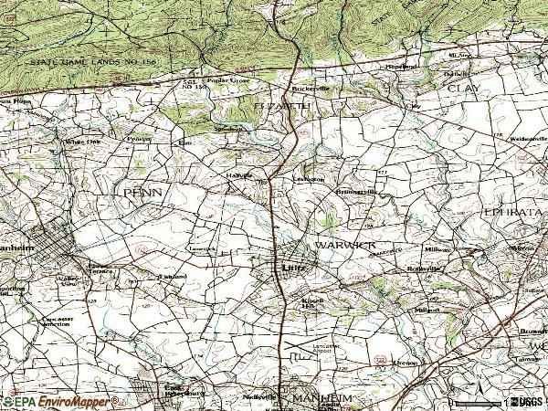 Zip code 17543 topographic map